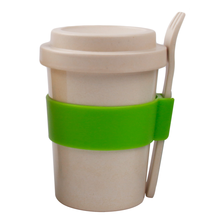 factory direct sale Biodegradable Eco Bamboo Fiber Cups With Lid and spoon and sleeve
