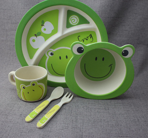 Baby Dinnerware Set for Baby Feeding – 5 Piece Kids Dinner Set – Cute frog Design – Eco Friendly Bamboo Fiber