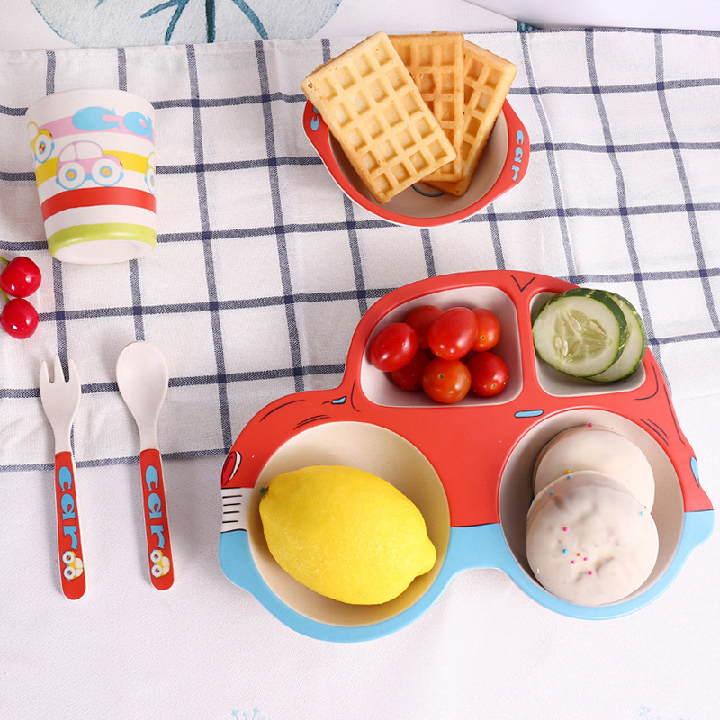 5 Piece Bamboo Dinnerware for Kids, Car Plate and Bowl Set, BPA Free, Eco Friendly and Dishwasher Safe.
