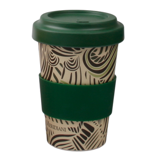 Natural Bamboo Fiber Eco Reusable Travel Coffee Mug with Lid and Sleeve