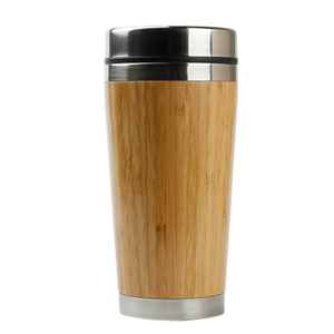 Reusable bamboo coffee tumbler with PP cover plastic coffee tumbler