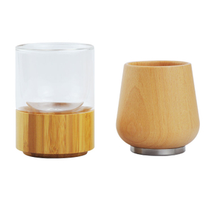 200ML Natural bamboo material whiskey glass mug with a stainless steel base
