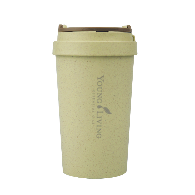 Biodegradable Rice Husk Fiber Plastic Wheat Straw Mug Reusable doubel wall Coffee Cup