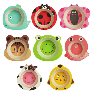8 Pcs Bamboo Fiber Children's Bowl, Creative Cartoon Animal Shape Home Baby Snack Bowls Kindergarten Anti-Fall Bowl