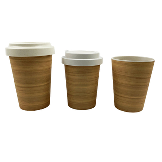 Customized Reusable Bamboo Fiber Water Drinking Cups Coffee Mug With Lid