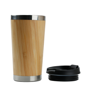 COOL manufacture reusable bamboo coffee tumbler with PP cover plastic coffee tumbler