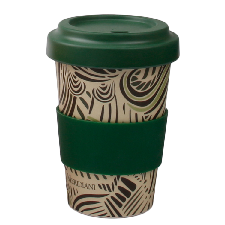 Compostable Biodegradable Bamboo Fiber Cup With Silicone Lid 450ml Bamboo Mugs