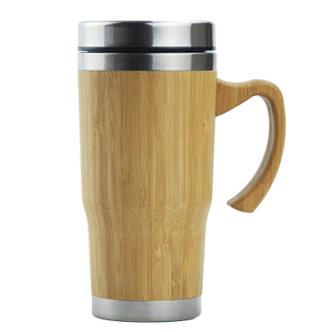 China product hot coffee drinking bamboo double wall stainless steel bamboo tumbler