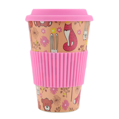 Wholesale Reusable Eco Bamboo Fiber Cups with Silicon Lid 350ml 450ml Bamboo Mugs