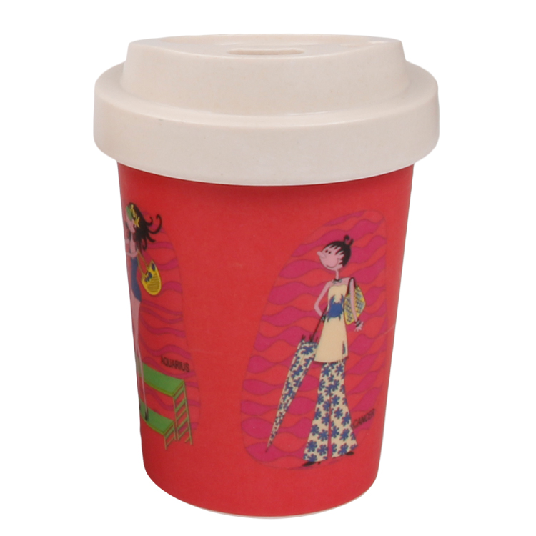 Reusable Eco Bamboo Fiber Cups with Bamboo Lid